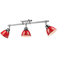 Golden Lighting 3602-3SF-CH-RD Duncan 3 Light 35 inch Chrome Semi-Flush Track Light Ceiling Light in Red
