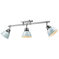 Duncan 3 Light 35 inch Chrome Semi-Flush Track Light Ceiling Light in Seafoam