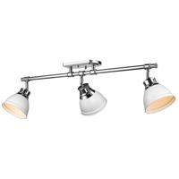 Golden Lighting 3602-3SF-CH-WHT Duncan 3 Light 35 inch Chrome Semi-flush - Damp Ceiling Light in Matte White