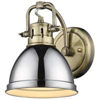Golden Lighting 3602-BA1 AB-CH Duncan 1 Light 7 inch Aged Brass Bath Fixture Wall Light in Chrome