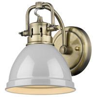 Golden Lighting 3602-BA1-AB-GY Duncan 1 Light 7 inch Aged Brass Bath Fixture Wall Light