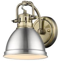 Golden Lighting 3602-BA1 AB-PW Duncan 1 Light 7 inch Aged Brass Bath Fixture Wall Light in Pewter