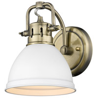 Golden Lighting 3602-BA1-AB-WHT Duncan 1 Light 7 inch Aged Brass Bath Fixture Wall Light in Matte White