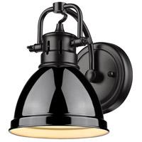 Golden Lighting 3602-BA1-BLK-BK Duncan 1 Light 7 inch Black Bath Fixture Wall Light