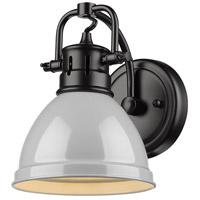 Golden Lighting 3602-BA1-BLK-GY Duncan 1 Light 7 inch Black Bath Fixture Wall Light