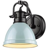 Golden Lighting 3602-BA1-BLK-SF Duncan 1 Light 7 inch Black Bath Fixture Wall Light