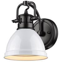 Golden Lighting 3602-BA1-BLK-WH Duncan 1 Light 7 inch Black Bath Fixture Wall Light