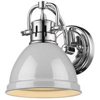 Golden Lighting 3602-BA1-CH-GY Duncan CH 1 Light 7 inch Chrome Bath Fixture Wall Light in Grey
