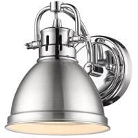 Golden Lighting 3602-BA1 CH-PW Duncan 1 Light 7 inch Chrome Bath Fixture Wall Light in Pewter