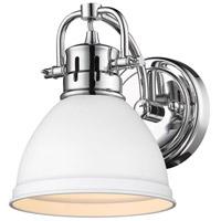 Golden Lighting 3602-BA1-CH-WHT Duncan CH 1 Light 7 inch Chrome Bath Fixture Wall Light