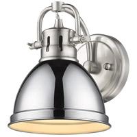 Golden Lighting 3602-BA1 PW-CH Duncan 1 Light 7 inch Pewter Bath Fixture Wall Light in Chrome