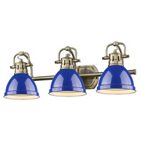 Duncan 3 Light 25 inch Aged Brass Bath Vanity Wall Light in Blue