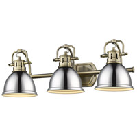 Golden Lighting 3602-BA3 AB-CH Duncan 3 Light 25 inch Aged Brass Bath Fixture Wall Light in Chrome