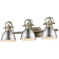 Golden Lighting 3602-BA3 AB-PW Duncan 3 Light 25 inch Aged Brass Bath Fixture Wall Light in Pewter
