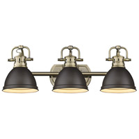 Duncan 3 Light 25 inch Aged Brass Bath Vanity Wall Light in Rubbed Bronze