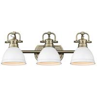 Golden Lighting 3602-BA3-AB-WHT Duncan 3 Light 25 inch Aged Brass Bath Fixture Wall Light in Matte White