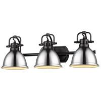 Golden Lighting 3602-BA3-BLK-CH Duncan BLK 3 Light 25 inch Matte Black Bath Fixture Wall Light in Chrome