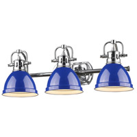 Duncan 3 Light 25 inch Chrome Bath Vanity Wall Light in Blue