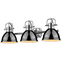 Golden Lighting Duncan 3 Light Bath Fixture in Chrome 3602-BA3-CH-BK