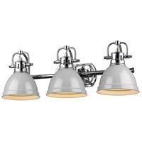Golden Lighting 3602-BA3-CH-GY Duncan CH 3 Light 25 inch Chrome Bath Fixture Wall Light in Grey