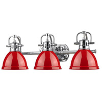 Duncan 3 Light 25 inch Chrome Bath Vanity Wall Light in Red