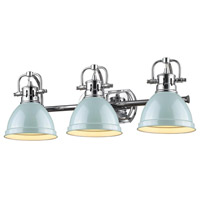 Duncan 3 Light 25 inch Chrome Bath Vanity Wall Light in Seafoam