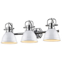 Golden Lighting Duncan 3 Light Bath Fixture in Chrome 3602-BA3-CH-WH