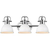 Golden Lighting 3602-BA3-CH-WHT Duncan CH 3 Light 25 inch Chrome Bath Fixture Wall Light