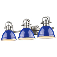 Duncan 3 Light 25 inch Pewter Bath Vanity Wall Light in Blue