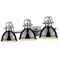 Golden Lighting Duncan 3 Light Bath Fixture in Pewter 3602-BA3-PW-BK