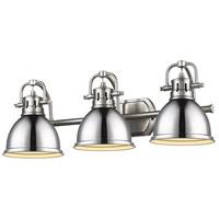 Golden Lighting 3602-BA3 PW-CH Duncan 3 Light 25 inch Pewter Bath Fixture Wall Light in Chrome