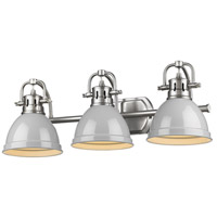 Golden Lighting 3602-BA3 PW-GY Duncan 3 Light 25 inch Pewter Vanity Lighting Wall Light in Grey