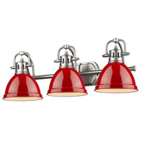 Duncan 3 Light 25 inch Pewter Bath Vanity Wall Light in Red