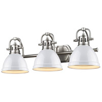 Golden Lighting Duncan 3 Light Bath Fixture in Pewter 3602-BA3-PW-WH