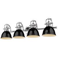 Golden Lighting 3602-BA4 CH-BK Duncan 34 inch Chrome Vanity Lighting Wall Light