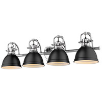 Golden Lighting 3602-BA4 CH-BLK Duncan 34 inch Chrome Vanity Lighting Wall Light