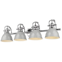 Golden Lighting 3602-BA4 CH-GY Duncan 34 inch Chrome Vanity Lighting Wall Light