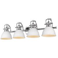 Golden Lighting 3602-BA4 CH-WHT Duncan 34 inch Chrome Vanity Lighting Wall Light