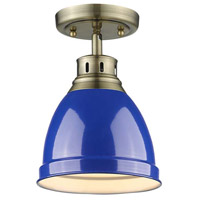Duncan 1 Light 9 inch Aged Brass Flush Mount Ceiling Light in Blue