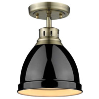 Duncan 1 Light 9 inch Aged Brass Flush Mount Ceiling Light in Black
