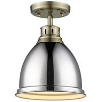 Golden Lighting 3602-FM AB-CH Duncan 1 Light 9 inch Aged Brass Flush Mount Ceiling Light in Chrome Damp
