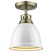 Duncan 1 Light 9 inch Aged Brass Flush Mount Ceiling Light