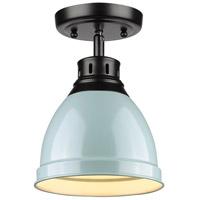 Golden Lighting 3602-FM-BLK-SF Duncan 1 Light 9 inch Black Flush Mount Ceiling Light in Seafoam