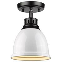 Golden Lighting 3602-FM-BLK-WH Duncan 1 Light 9 inch Black Flush Mount Ceiling Light in White