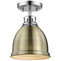 Golden Lighting 3602-FM CH-AB Duncan 1 Light 9 inch Chrome Flush Mount Ceiling Light in Aged Brass Damp