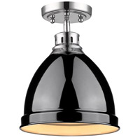 Golden Lighting Duncan 1 Light Flush Mount in Chrome 3602-FM-CH-BK