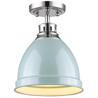 Duncan 1 Light 9 inch Chrome Flush Mount Ceiling Light in Seafoam