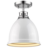 Golden Lighting Duncan 1 Light Flush Mount in Chrome 3602-FM-CH-WH