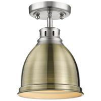 Golden Lighting 3602-FM PW-AB Duncan 1 Light 9 inch Pewter Flush Mount Ceiling Light in Aged Brass Damp