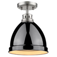 Golden Lighting Duncan 1 Light Flush Mount in Pewter 3602-FM-PW-BK